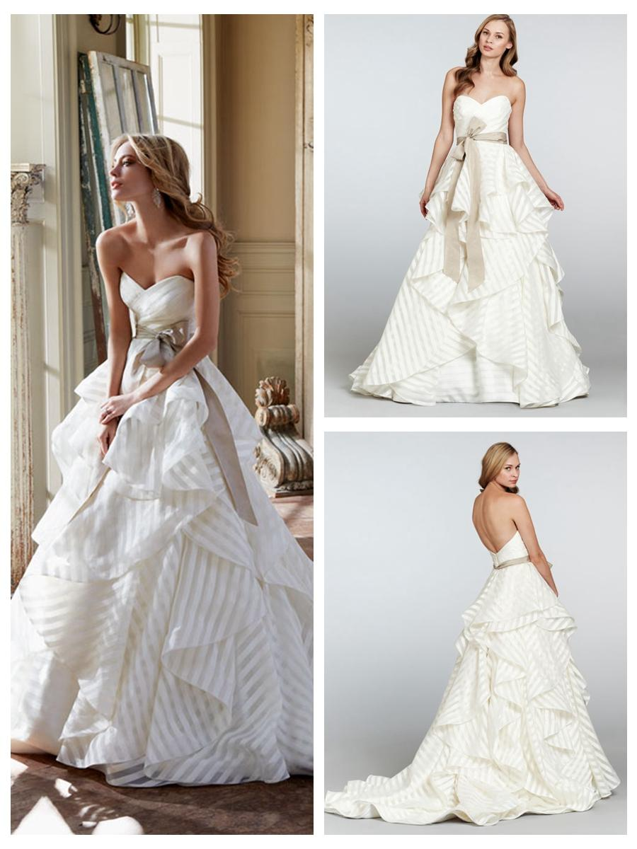 Ivory Striped Organza Strapless Sweetheart Wedding Dress With ...