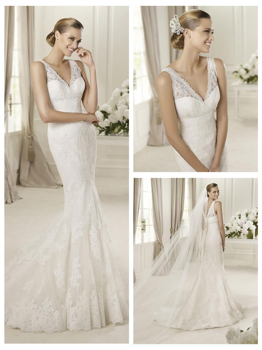 Embroidery Elegent V Neck And Back Lace Mermaid Wedding Dress