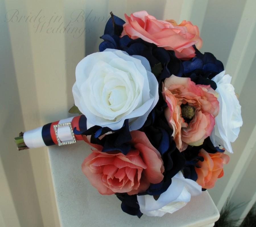 Свадьба - Wedding bouquet coral navy white rose bridesmaid bouquets