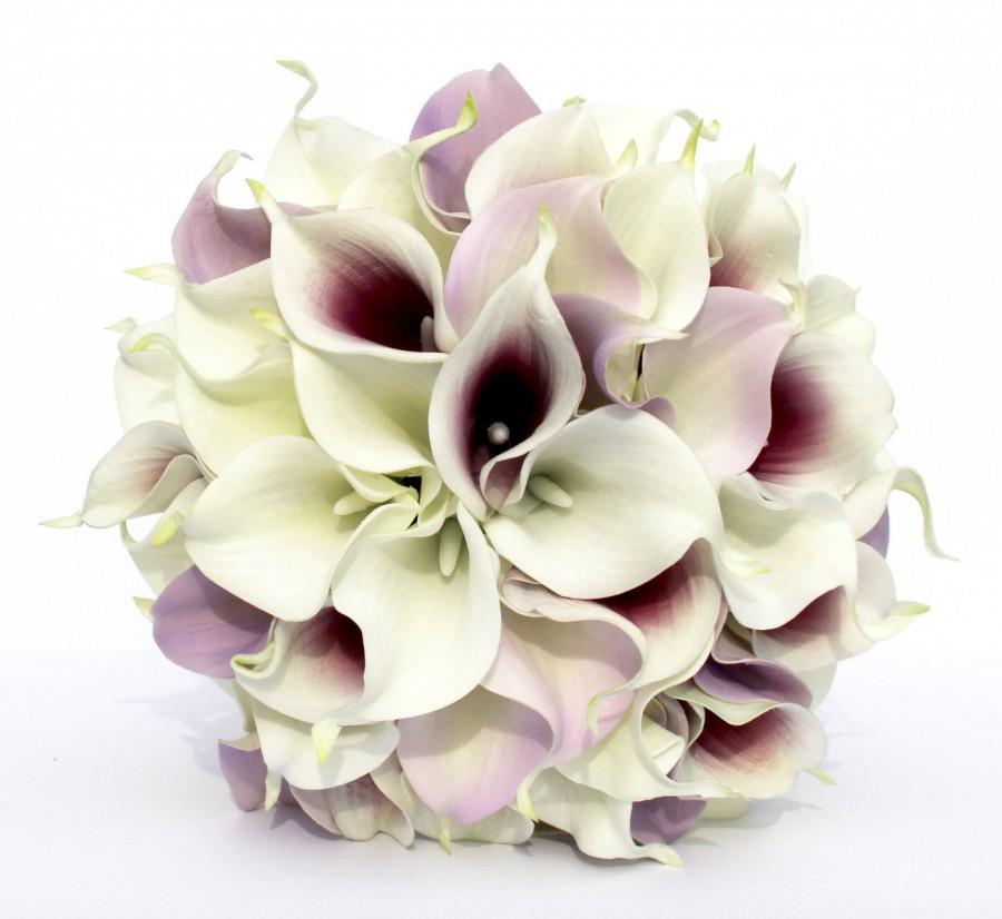 زفاف - WEDDING BOUQUET Purple Calla Lily Wedding Bouquet, Real To Touch Lavender and Dark Purple Picasso Bouquet