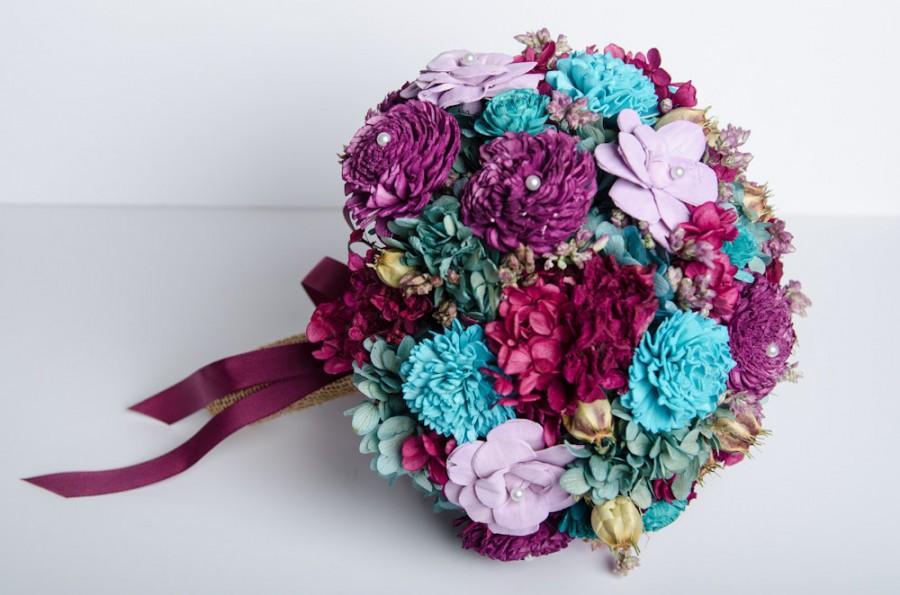 Hochzeit - Wedding Bouquet,Sola Flower Bridal Bouquet, Bohemian Bridal Bouquet, Rustic Bridal Bouquet, Fuchsia, Purple, Turquoise Bridal Bouquet.