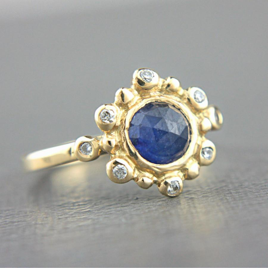 cut engagement rose ring sapphire blue full photos