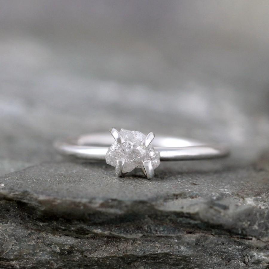 Wedding - Raw Diamond Engagement Ring - Conflict Free - Sterling Silver Polished Finish - Stacking Ring- Raw Gemstone -April Birthstone - Promise Ring