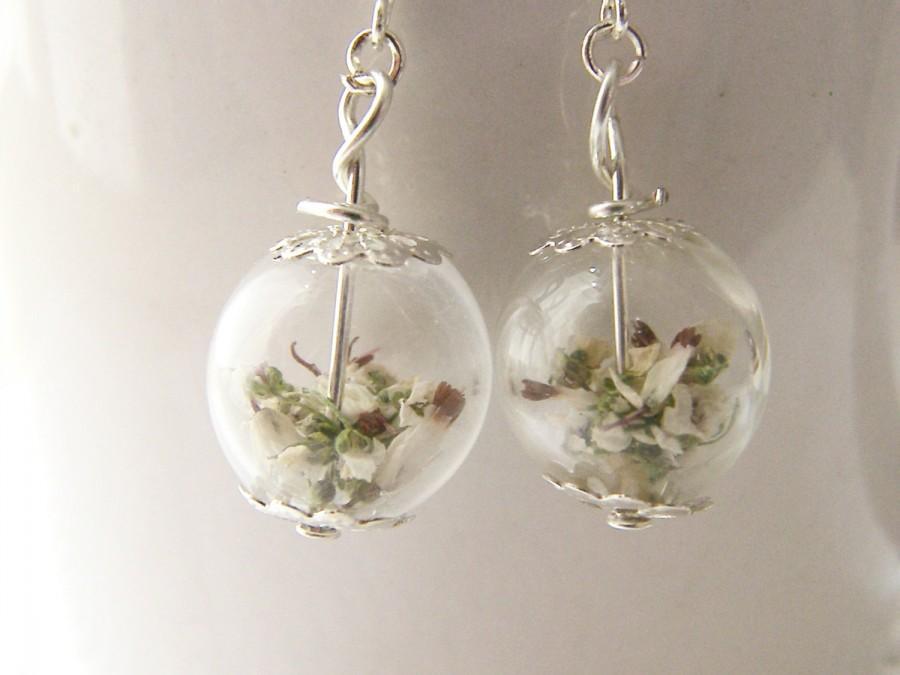 Wedding - Lucky White Heather Earrings - Real Flower - Bridal Wedding Bridesmaid