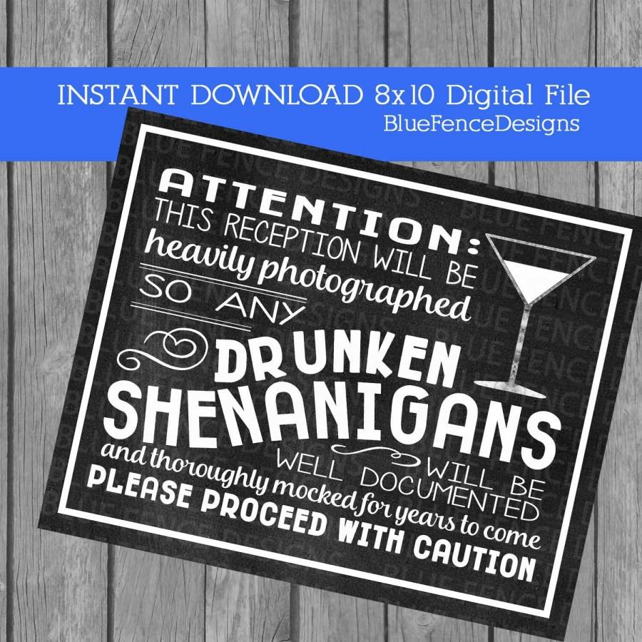 instant download drunken shenanigans wedding signs printable funny