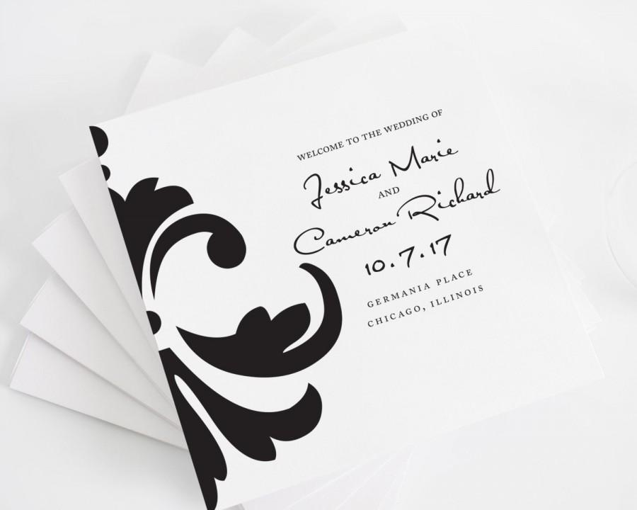 damask accent tri fold wedding programs deposit in black and white