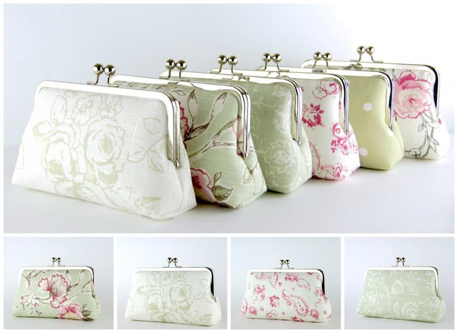 Свадьба - Bridesmaid Clutch, Sage Green & Pink collection, Silk Lining, Bridesmaid Gift, Wedding clutch