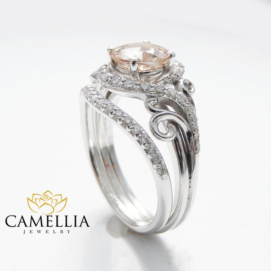 14K White Gold Engagement Rings White Gold Morganite Ring ...