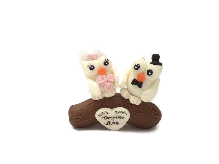 Mariage - Owls Wedding Cake Topper, Owl Cake Topper,Personalized Cake Topper, Custom Cake Topper, White Pink Wedding, Bride Groom, Rustic Wedding