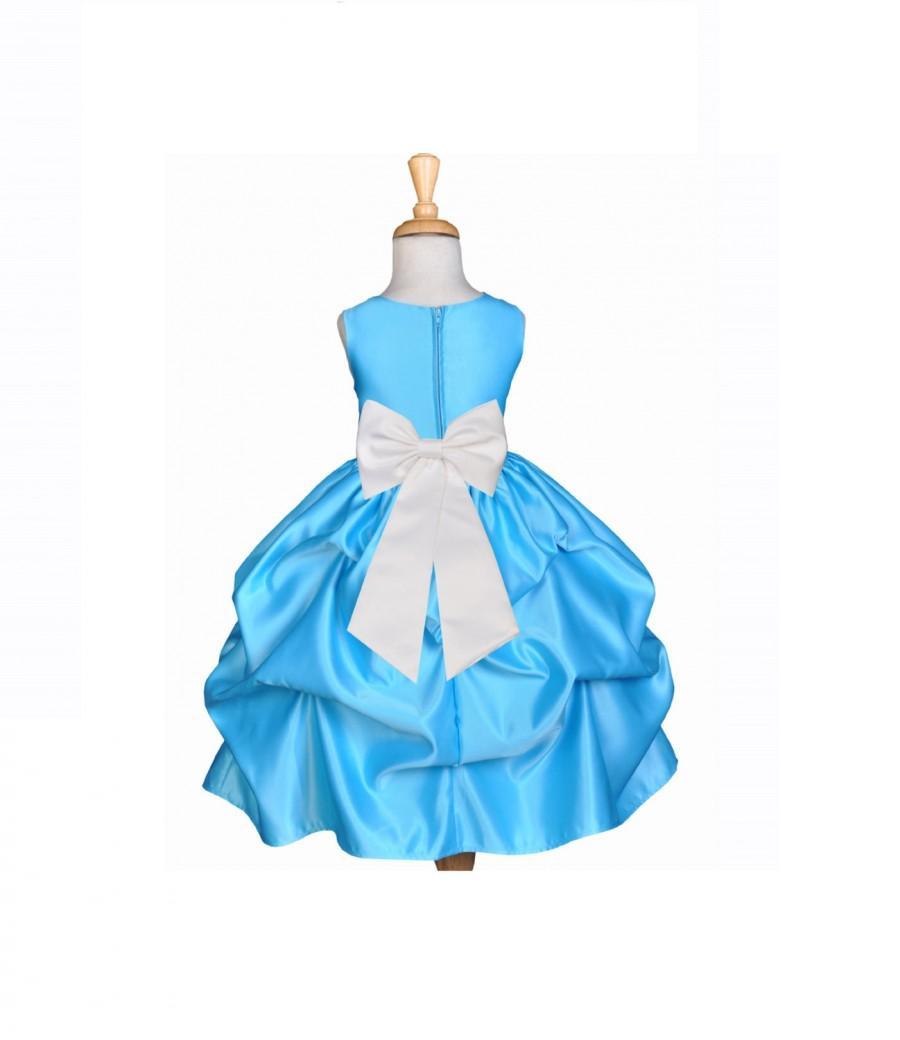 Turquoise Blue Flower Girl Dress 37 Color Tiebow Sash Choose Easter ...
