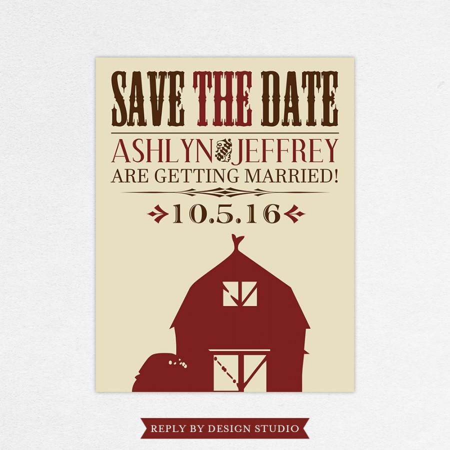 Wedding Save The Date (Barnyard Love) - Digital Files Or Deposit On ...