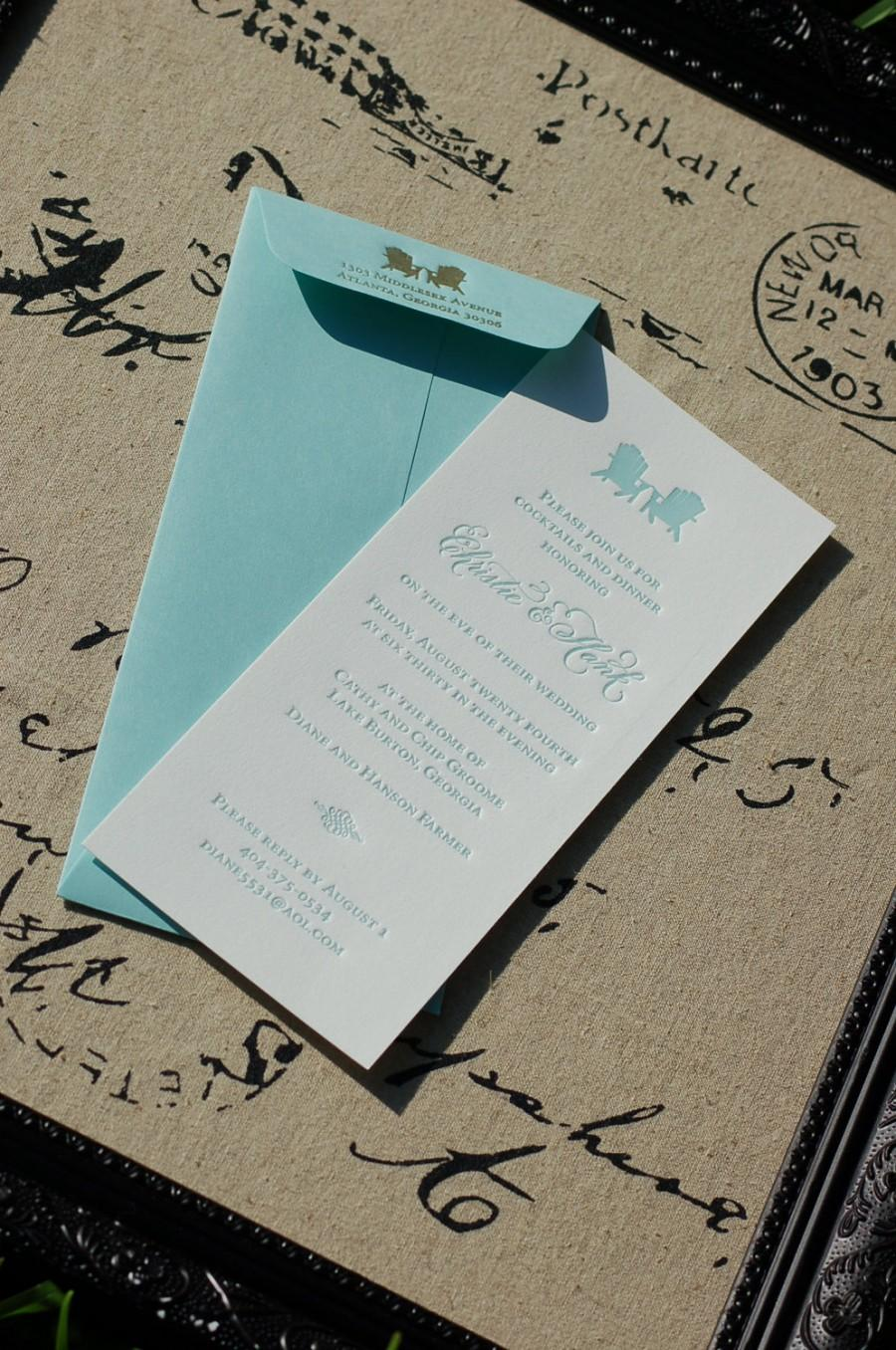 Mariage - Letterpress Rehearsal Dinner Invitations DEPOSIT Beach Lake Theme Adirondack Chair