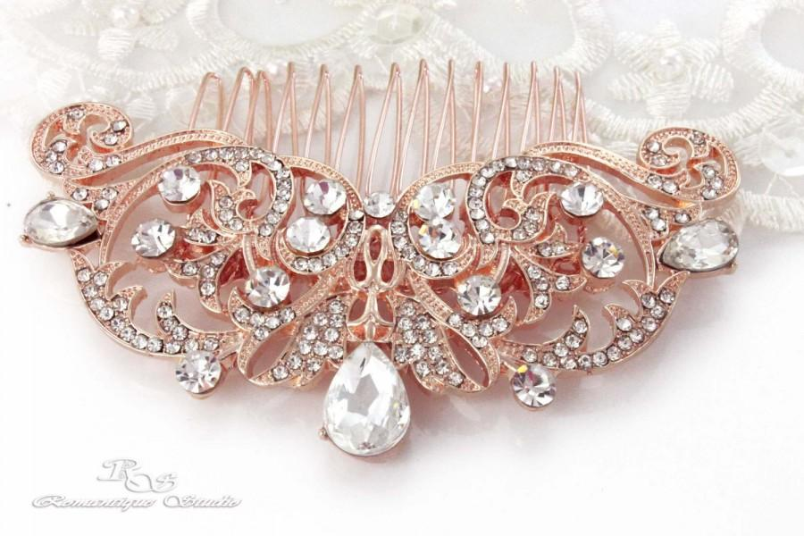 Hochzeit - ROSE GOLD Wedding hair comb Bridal rhinestone hair comb Wedding comb vintage headpiece comb Rose gold hair comb Hair Accessories 5167RG