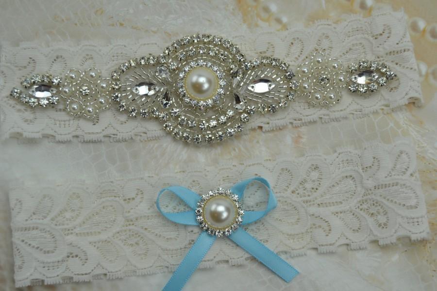زفاف - Wedding Garter Set, Bridal Garter, Ivory Lace Garter, Vintage Lace Garter