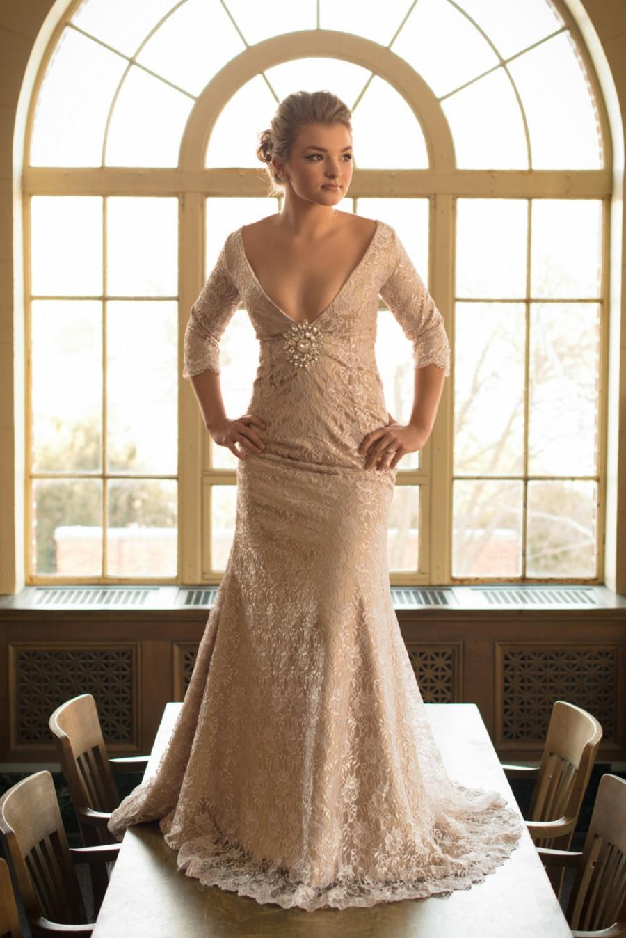 Mariage - Wedding gown with long sleeves, tea dyed lace and low V front /// Garbo Gown