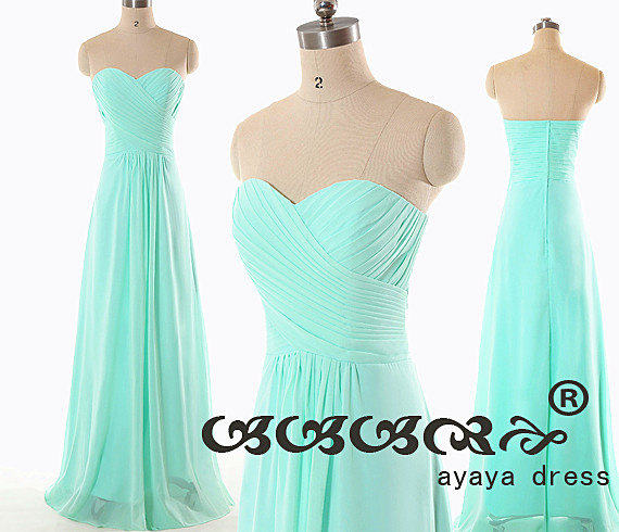 Wedding - Long chiffon Bridesmaid Dress, chiffon prom dress,cheap bridesmaid dresses, Mint green long Bridesmaid dresses with Sweetheart Neckline 2016