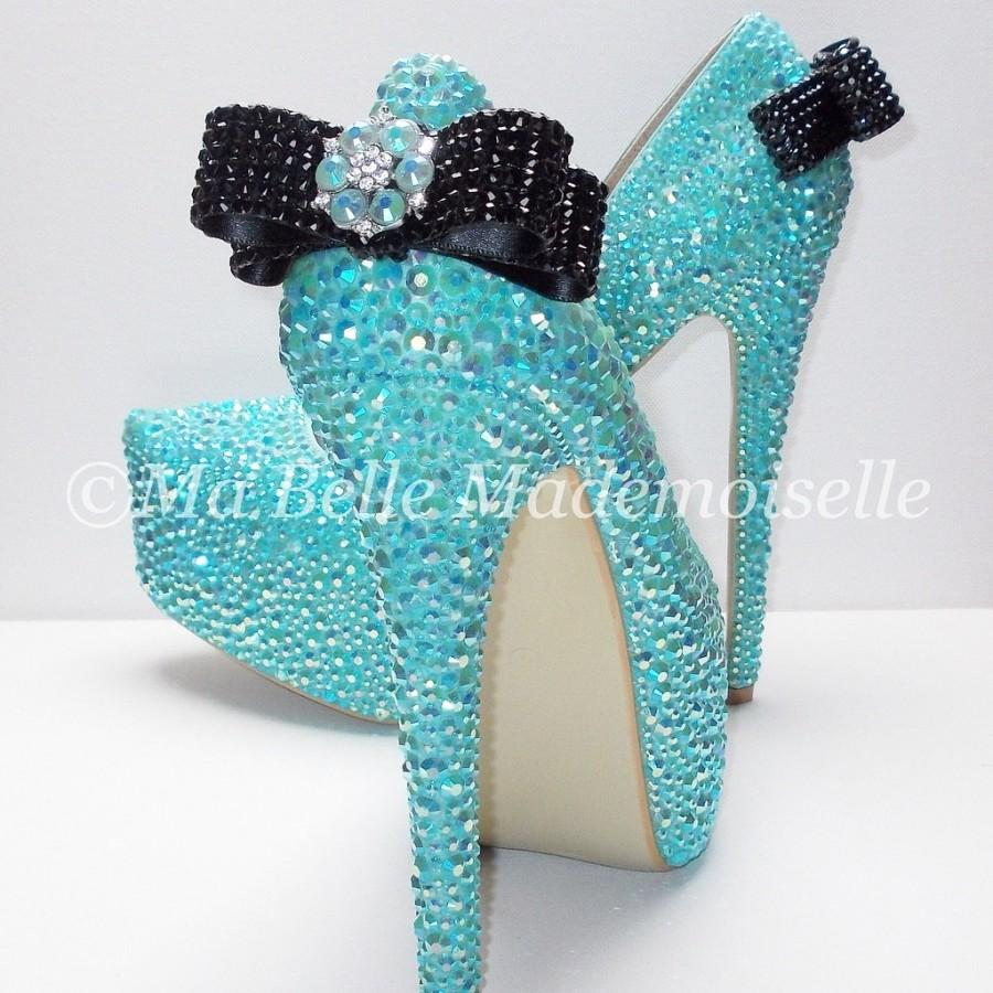 Bling Blue Wedding Shoes, Bling Shoes, Crystal Bridal Shoes, Wedding Shoes,  Bow Wedding Shoes, Bow Bridal Shoes, Rhinestone Wedding Shoes