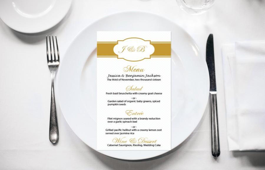 Gold Monogram Frame Wedding Menu Card Editable PDF Template #2451299 ...