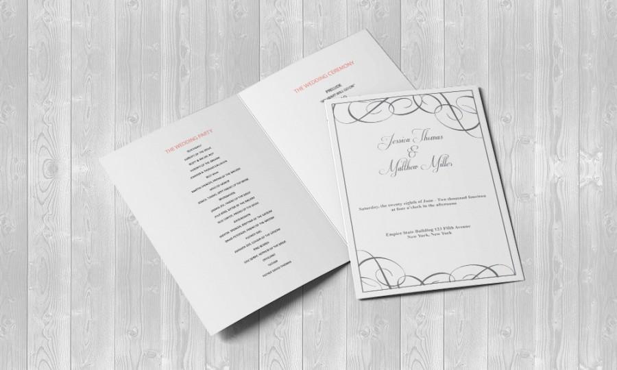 Mariage - Grey Swirls Wedding Foldover Program Editable PDF Template