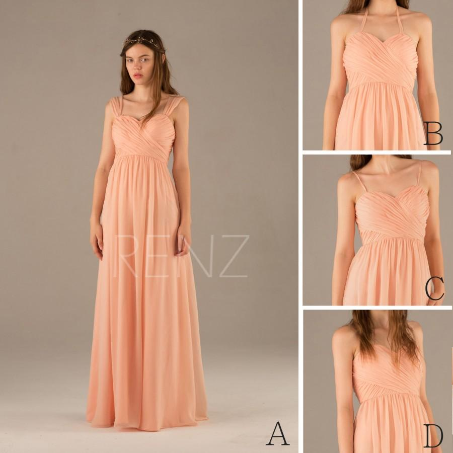 2017 Convertible Strap Peach Bridesmaid Dress Pink Halter Prom Blush Maxi Long Wedding Emprie Floor Length T109