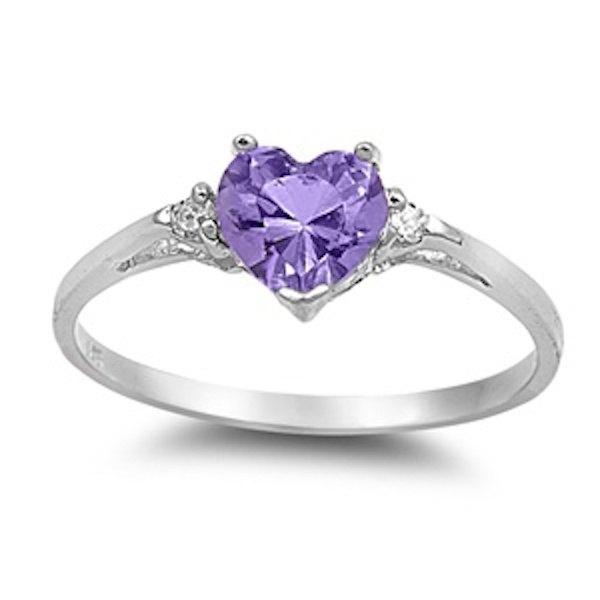 زفاف - 0.50CT Purple Amethyst Diamond Russian CZ Heart Shape Round 925 Sterling Silver Promise Ring Love Valentines Gift Wedding Engagement Ring