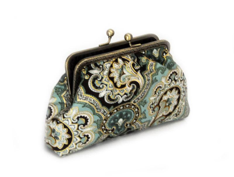 Wedding - Clutch Purse - Teal and Gold paisley clutch - Bridesmaid Clutch Purse - Wedding Clutch Purse - Evening Clutch Purse