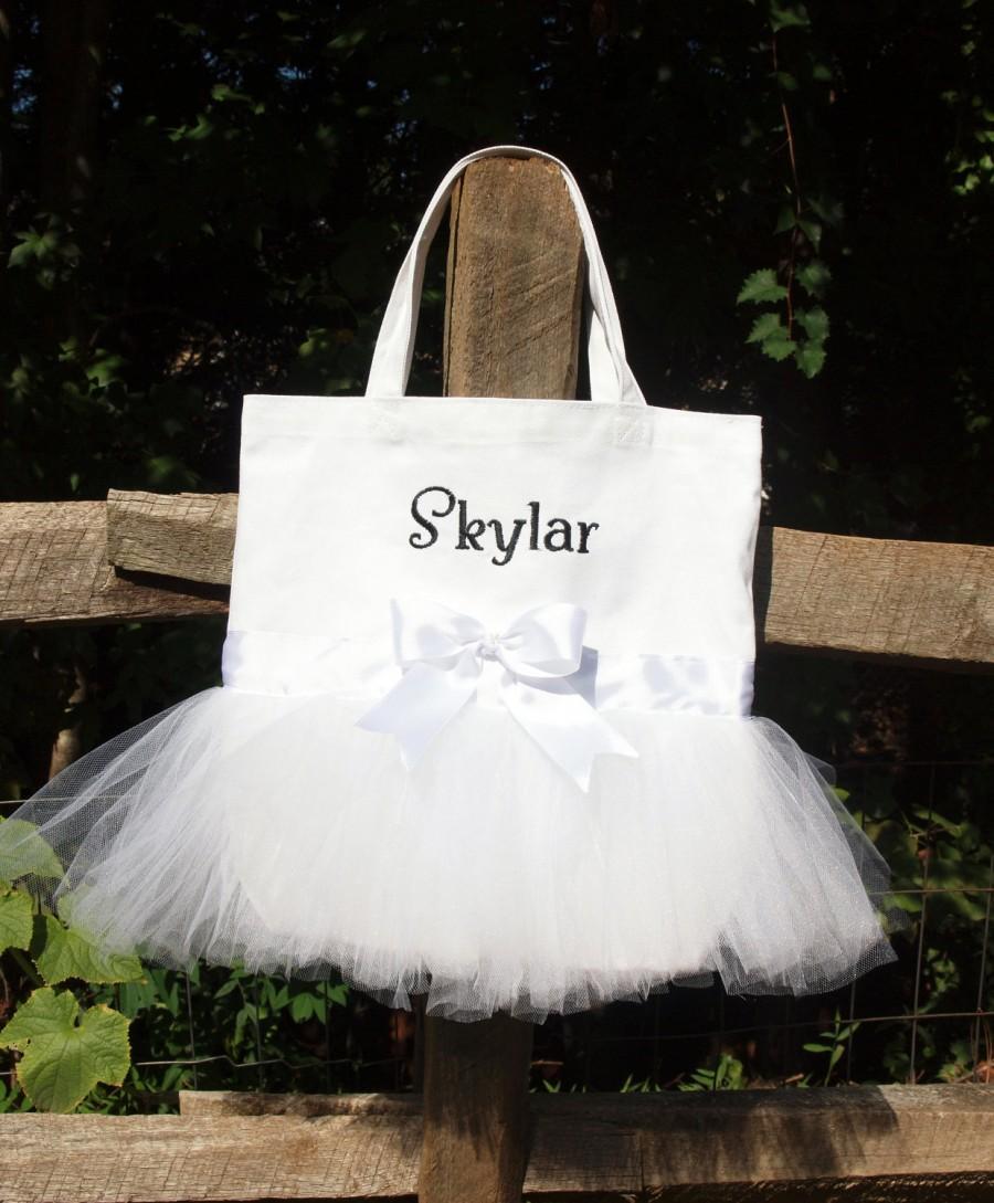 Wedding - Custom Boutique Monogramed Bride, BridesMaid or Flower Girl Tote Bag for a Fairytale Wedding
