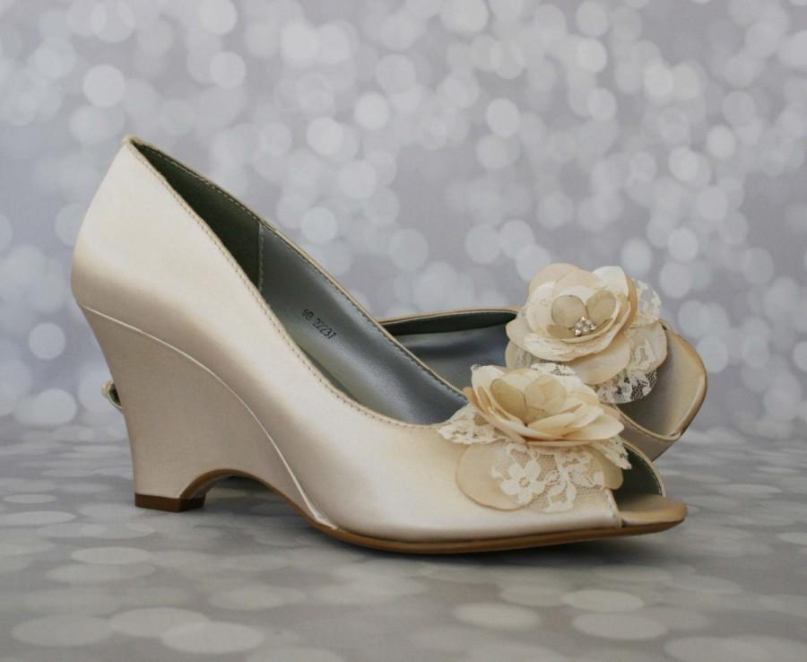 Champagne Wedding Shoes Romantic Wedding Wedge Wedding Shoes Wedge Heel Lace Wedding Shoes