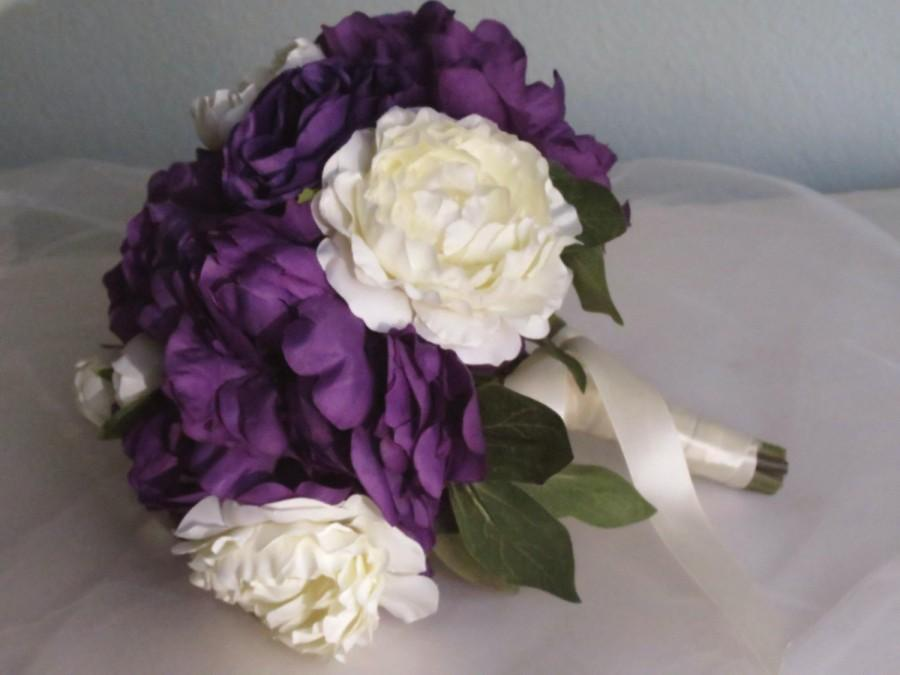 Purple ivory peonies roses wedding bridal bouquet silk flowers purple ivory peonies roses wedding bridal bouquet silk flowers crystals wedding accessory mightylinksfo