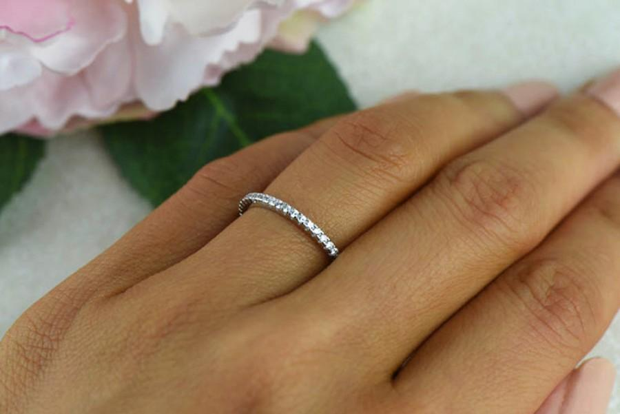 small half eternity ring 15mm wedding ring engagement ring man made diamond simulants bridal ring round wedding band sterling silver - Small Wedding Rings