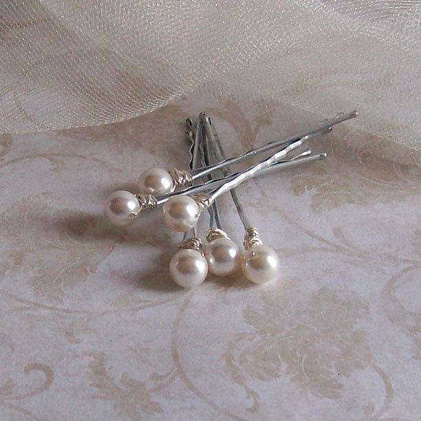 Wedding - White Pearl Hair Pins - Swarovski Crystal Pearl Bobby Pins - Set of Six