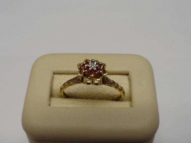 Wedding - Vintage Genuine Ruby Diamond Flower Vine Ring 10K Yellow Gold Vintage Engagement Ring