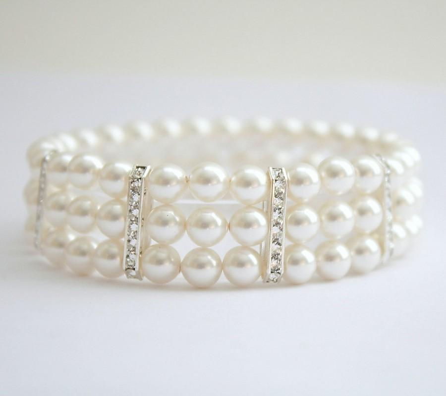 Pearl Wedding Bracelet 3 Strand Stretch With Swarovski Cream Or White Ivory Pearls Rhinestone Cuff Bridal