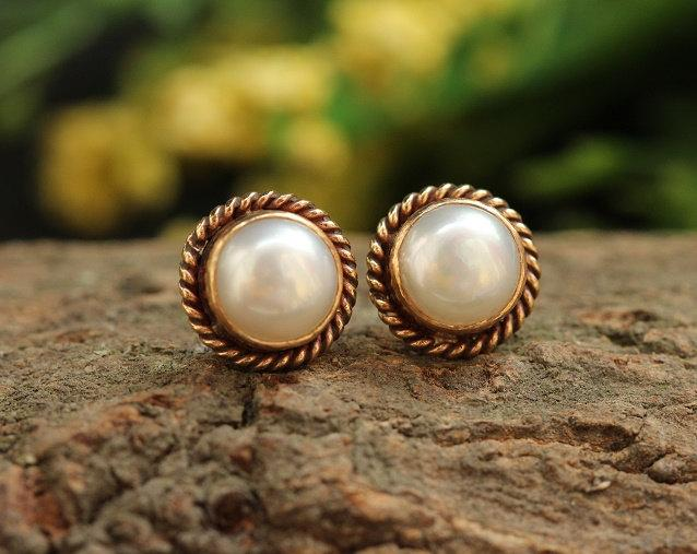 Bridal Gold Pearl Earrings 18k Stud 8mm Studs Small Gift For Her