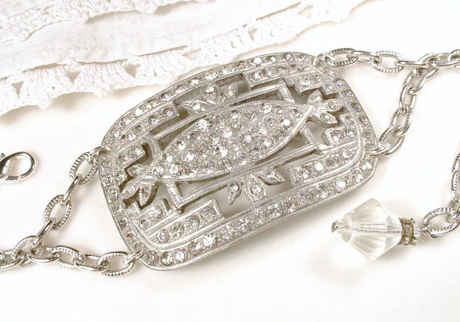 Antique 1920s Art Deco Bracelet Clear Rhinestone Silver Vintage Wide Cuff Shoe Buckle Bridal Statement Fler Jewelry Great Gatsby Paste
