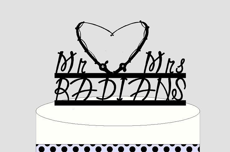 Mariage - Wedding Cake Topper Personalized with your Surname and Mr and Mrs. Fishing Rod and Reels Heart Shape cake topper with your name or surname.