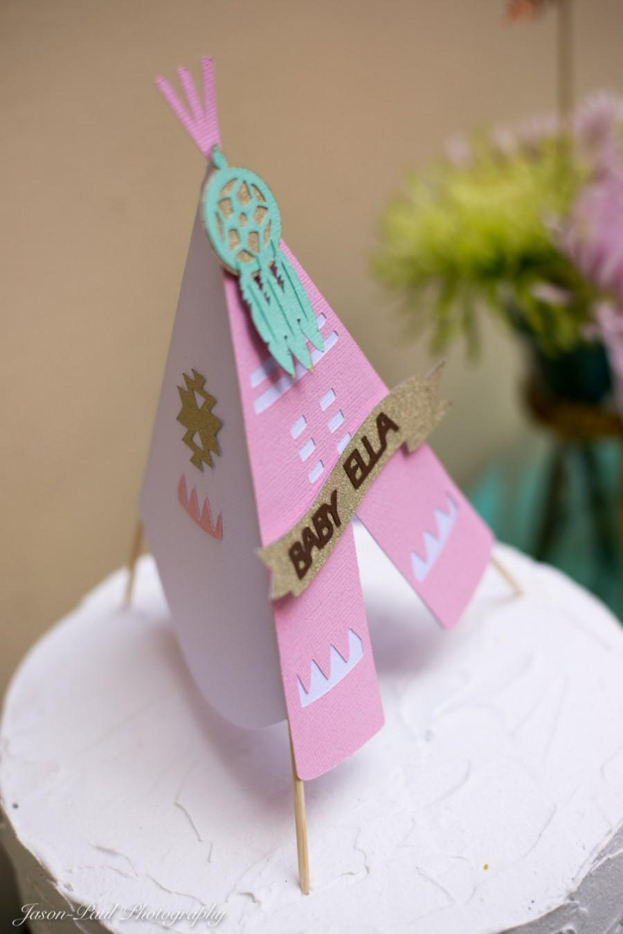 Teepee Cake Topper Pow Wow Party 3d Personalized Name