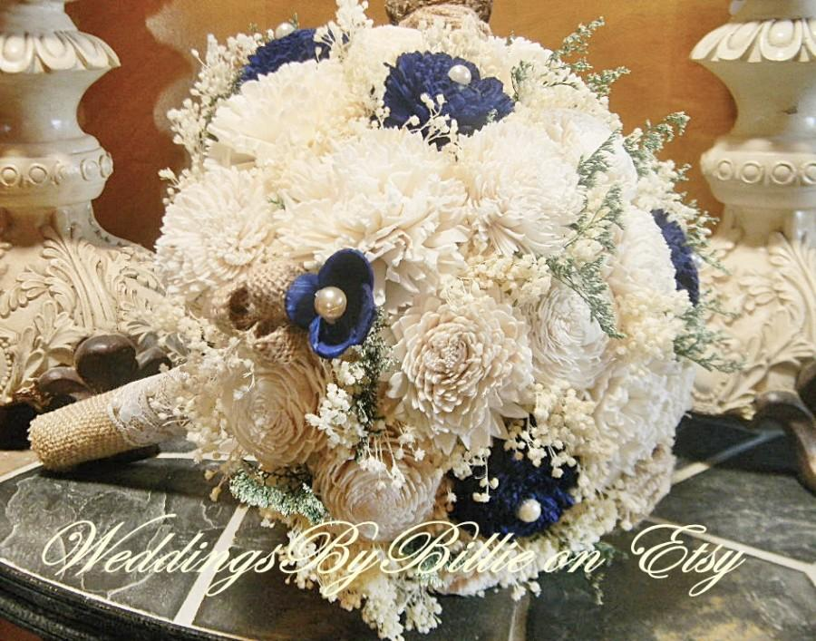 Fall Bouquets Burlap Lace Navy Blue Sola Bouquet Wedding Flowers Rustic Shabby Chic Bridal Accessories Keepsake