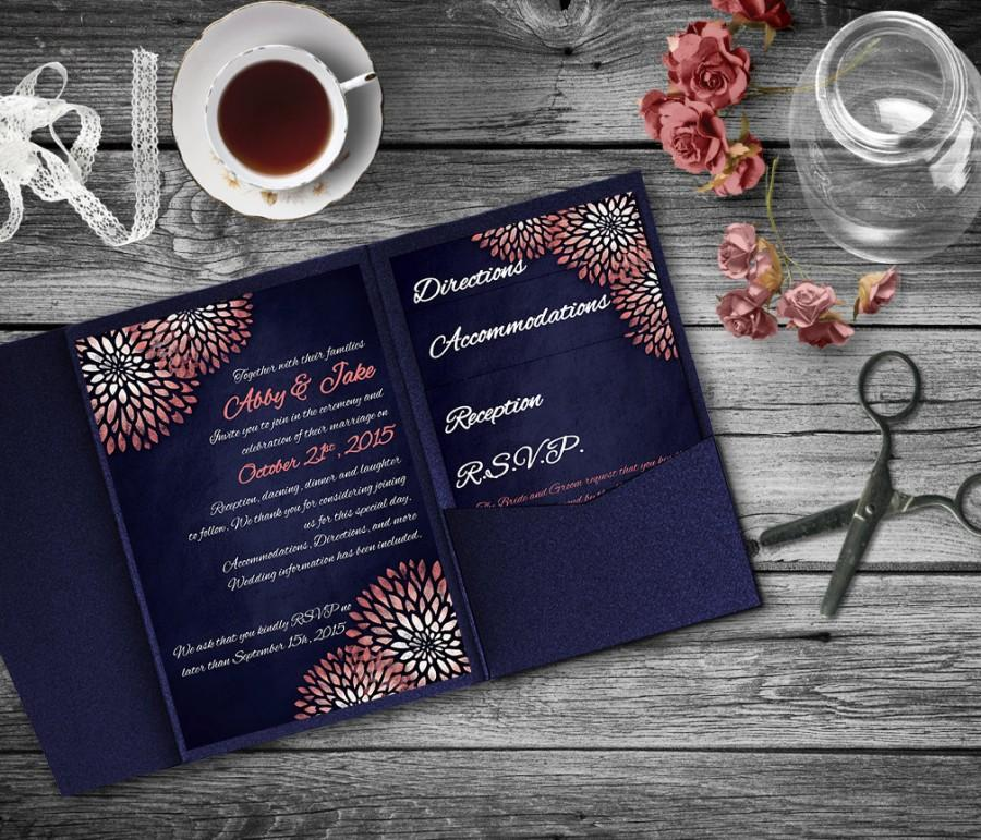 Coral Navy Wedding Invitation Template, Invitation Suite, Wedding ...