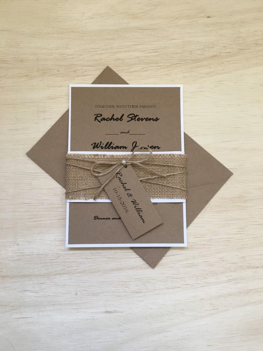 Rustic Wedding Invitation, Burlap Wedding Invitation, Twine Pearl Invitation,  Belly Band Invitation, Recycling Invitation, Country Invite