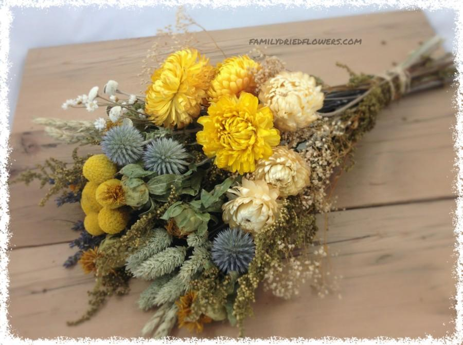 Mariage - Yellow Sunny Collection w/ Soft Gray Blue Accents - DIY Bundle of Coordinating Flowers - Dried flowers - cream yellow sage - Rustic Wedding