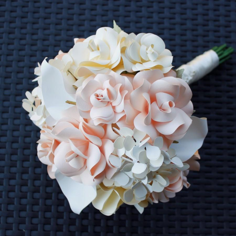 Paper Bouquet Blush Ivory White Hydrangeas Roses Calla
