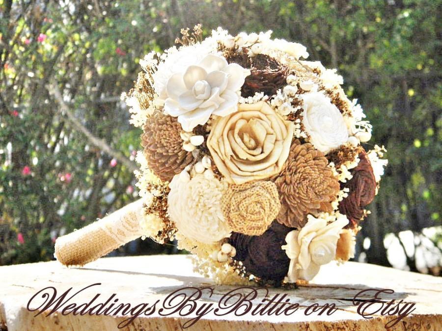 Mariage - Weddings,Fall Bouquet, Ivory Brown Bouquet,Burlap Lace,Alternative Bouquet,Rustic Shabby,Bridal Accessories,Keepsake Bouquet,Wedding Bouquet