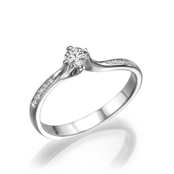 Mariage - Unique Engagement Ring, Diamond Ring, 14K White Gold Ring, 0.2 TCW Diamond Engagement Ring, Diamond Ring Band