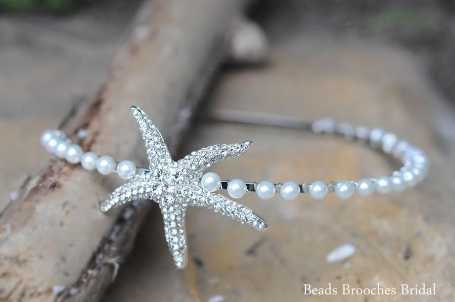 Wedding - Beach Wedding, Starfish Pearl Headband, Rhinestone Headband, Wedding Headband, Bridal Headband,Star Fish and Pearl Beach Wedding Headpiece