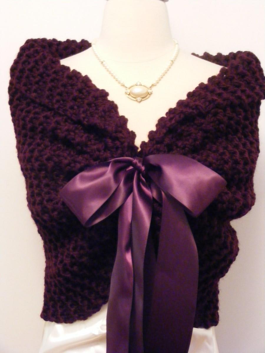 Wedding - Purple Shawl/Wedding Wrap/Knit Shawl/Bridal Cape/Purple Wedding/Bridal Shawl/Winter Wedding/Spring Wedding/Bolero/Shrug/ Purple Knit Shawl