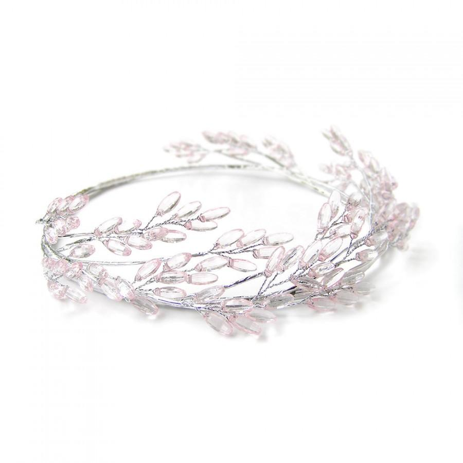 Pink beaded head crown head wreath pink flower crown silver wire pink beaded head crown head wreath pink flower crown silver wire wedding tiara costume headpiece cinderalla grecian greek izmirmasajfo