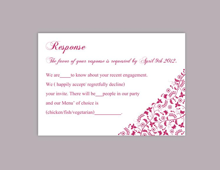 diy wedding rsvp template editable word file download rsvp template printable rsvp cards fuchsia rsvp card template hot pink rsvp card