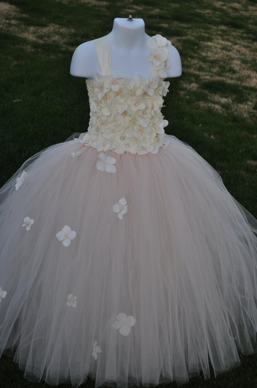 Wedding - Blush Tutu Dress, Blush Ivory Flower Girl Dress,Infant Blush Dress,Baby Pink Dress,Toddler Blush Tutu Dress, Special Occasion Blush Dress,