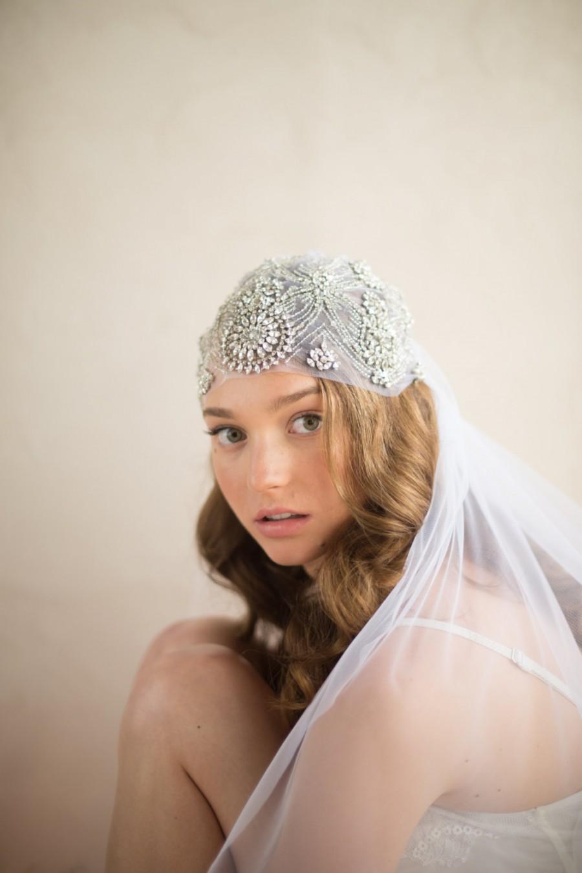 زفاف - JULIET CAP Wedding Veil, Great Gatsby Inspired Beaded Rhinestone & Crystal Art Deco Bridal Fingertip Old Hollywood, Camilla Christine DAISY